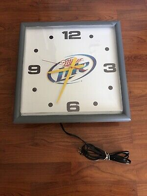Vintage Miller Lite Beer Lighted Wall Or counter Plastic Cube Clock