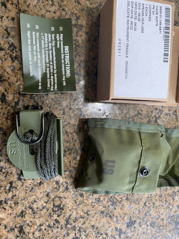 New! Cammenga Model 3H Tritium Lensatic Compass W/ Olive Green US Military Pouch