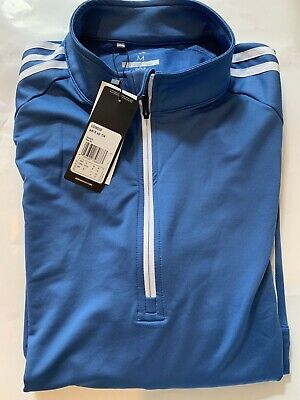 """ADIDAS 3-Stripes Quarter Zip Golf Pullover """"BLUE SIZE MEDIUM""""  NEW with Labels"""