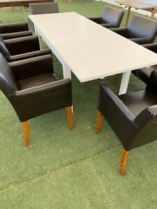 Wooden, upholstered, leather tables and chairs