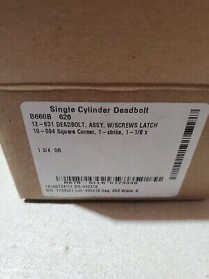 Schlage B660b 626 Single Cylinder Deadbolt Without Key Cylinder New In Box