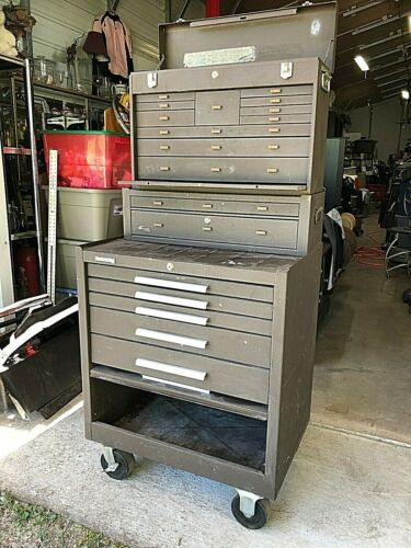 """Kennedy Machinist Stack-on tool 3 box system USA made 60"""" tall roll around"""