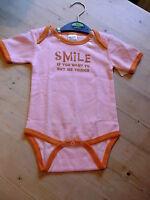 Urban Smalls S/sleeved 'smile...' Bodysuit 6-12mths 68cm Pink Mix Bnwot - urban smalls - ebay.co.uk