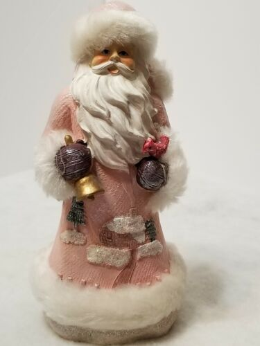 VINTAGE RARE PINK SANTA CLAUS FIGURINE WITH BELL & CARDINAL BEAUTIFUL COAT 8""