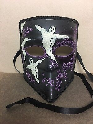 Papier Mache Black Mask with Ghosts Masquerade Halloween Mask Mardi Gras](Halloween Papier Mache Masks)