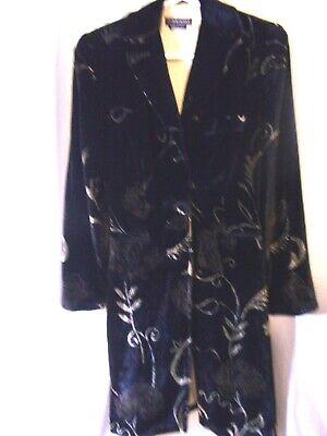Vintage Giorgio Armani Milano Ladies Black Velvet Gold Pattern Evening Coat 38