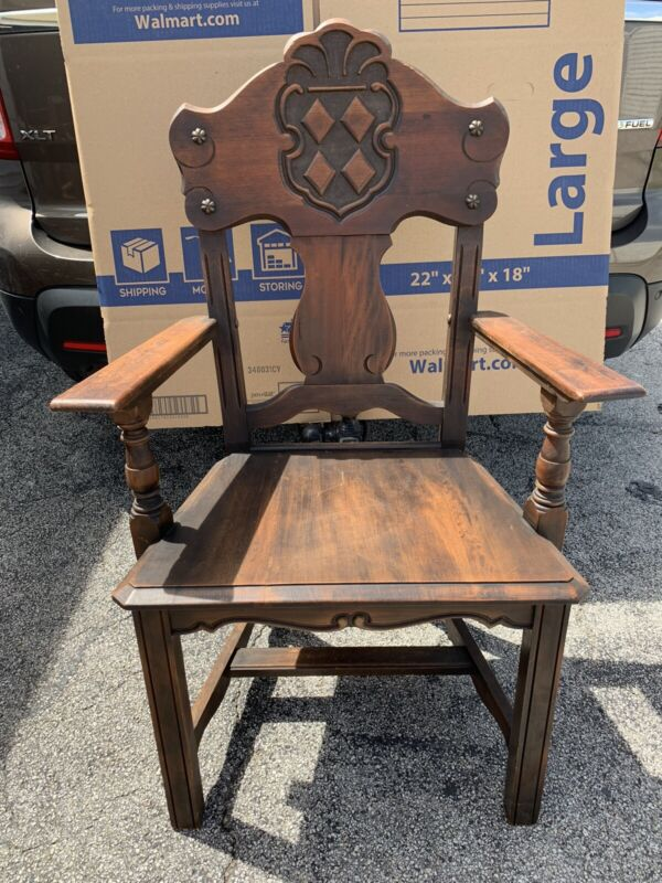 "Antique Set Of 8 Gothic Wooden Dining Chairs Brown Carved  42"" Tall"