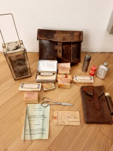 Filled Swiss army military bag medic FIRST- AID 1949 with RARE FOLDING LANTERN