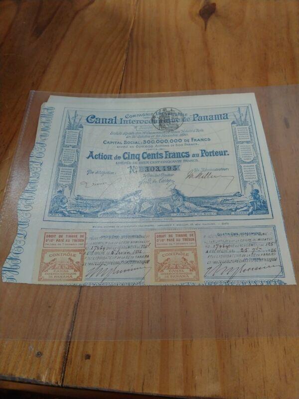 1886 CANAL INTEROCEANIQUE DE PANAMA Stock Certificate 303,495 very rare