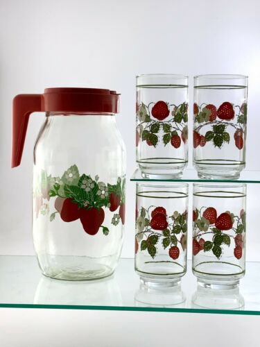 Carlton Glass Strawberry 2L Pitcher Set of 4 Juice Glasses Clear U352