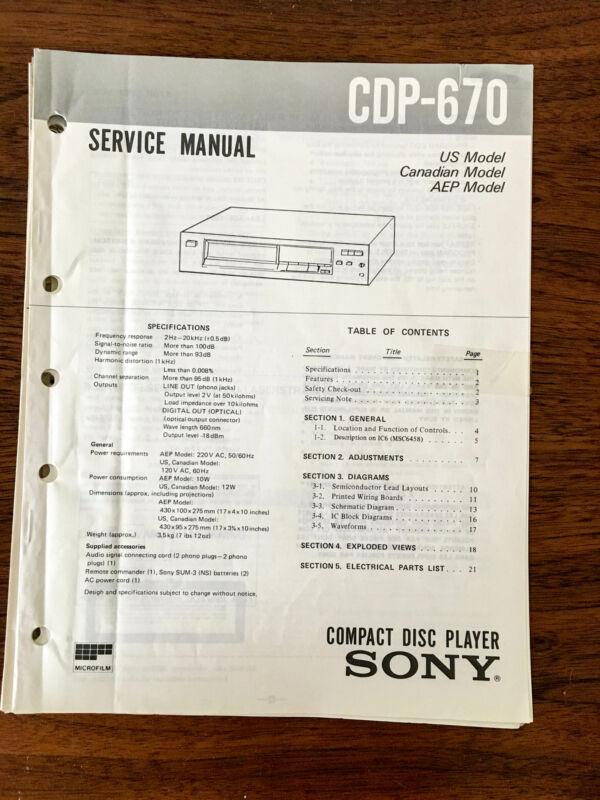 Sony CDP-670  Service Manual *Original*