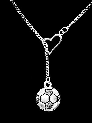 Soccer Necklace Ball Heart Sports Christmas Gift Mom Daughter Lariat - Soccer Jewelry
