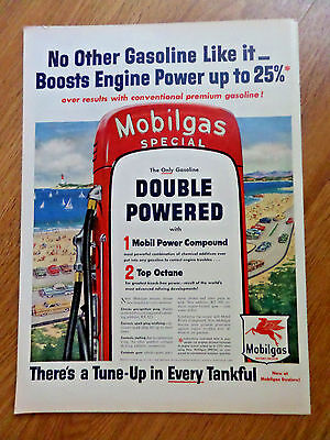 1954 Mobil Oil Gas Ad  Along the Coastal Highways Theme
