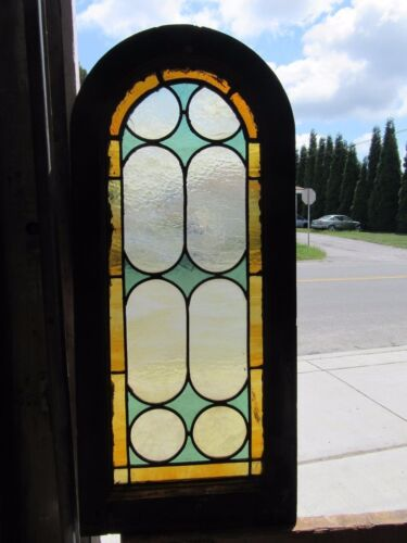 ~ ANTIQUE AMERICAN STAINED GLASS WINDOW 15 X 34 ~ ARCHITECTURAL SALVAGE ~