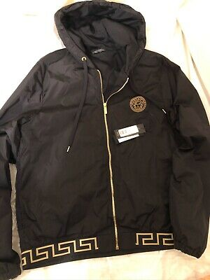 VERSACE GRECA BORDER HOODED NYLON JACKET SIZE L