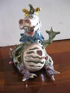Blue Sky Ceramic Dragon Pig Figurine Candle Holder Art Dudley Park Mandurah Area Preview