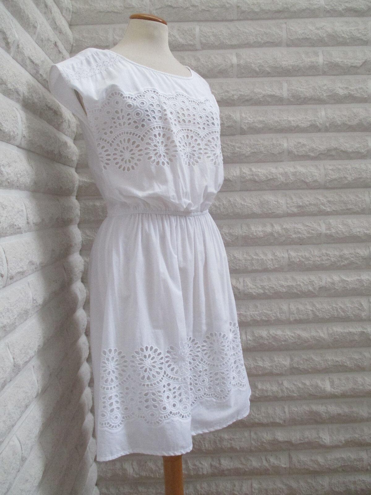 Kleid weiß Spitze Baumwolle tracht landhaus dirndl Folklore Gr 34 NEU Blogger