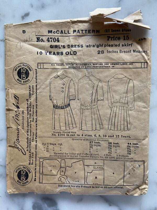 1908 McCall Pattern No. 4704 Girl's Dress 10 Years Old Sewing Pattern