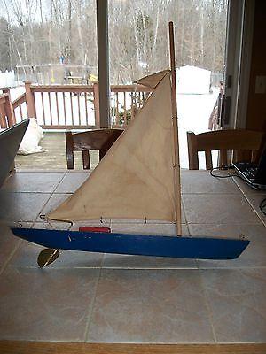 Vintage Antique Wood Wooden Model Sailboat Pond Boat 19 1/2 Inches