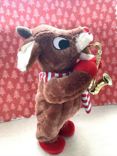 Dan Dee Animated Music Plush Christmas Rudolph & Saxophone Plays Rudolph the Red
