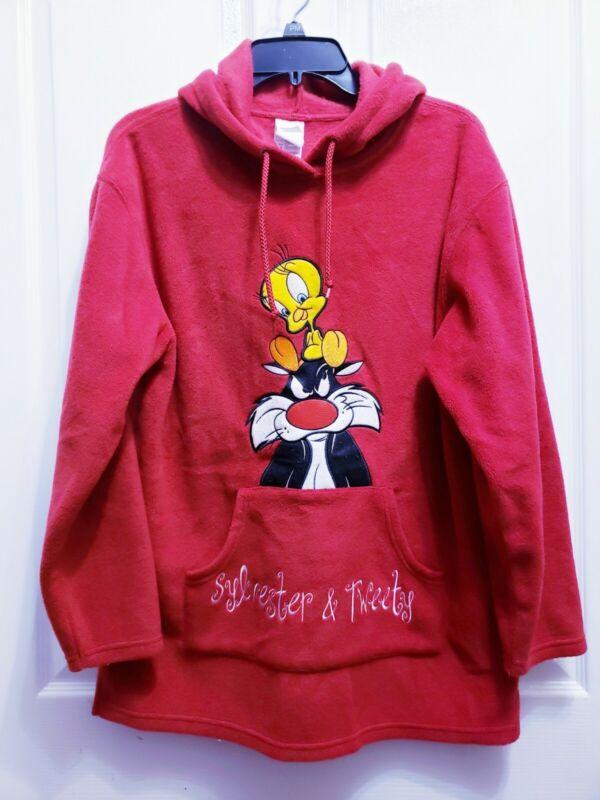 Tweety Sylvester Red Fleece Medium  Hoodie Fits Tall Individuals Unisex. NWOT