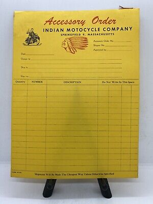 Original Vintage Accessory Order Form M749 Indian Motorcycle Co. Springfield MA.