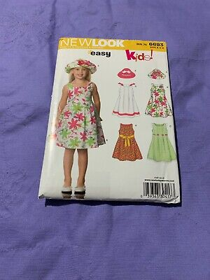 New Look Party Clothes (GIRLS CHILD UNCUT NEW LOOK 6693 Sewing Pattern SUMMER PARTY DRESS HAT SIZE)
