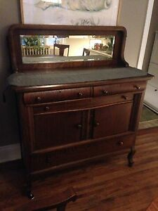Antique Canadian made oak hutch / buffet