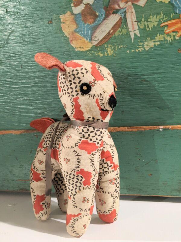 Antique Primitive Baby Lamb Dog Soft Toy Animal Cherry Novelty Fabric