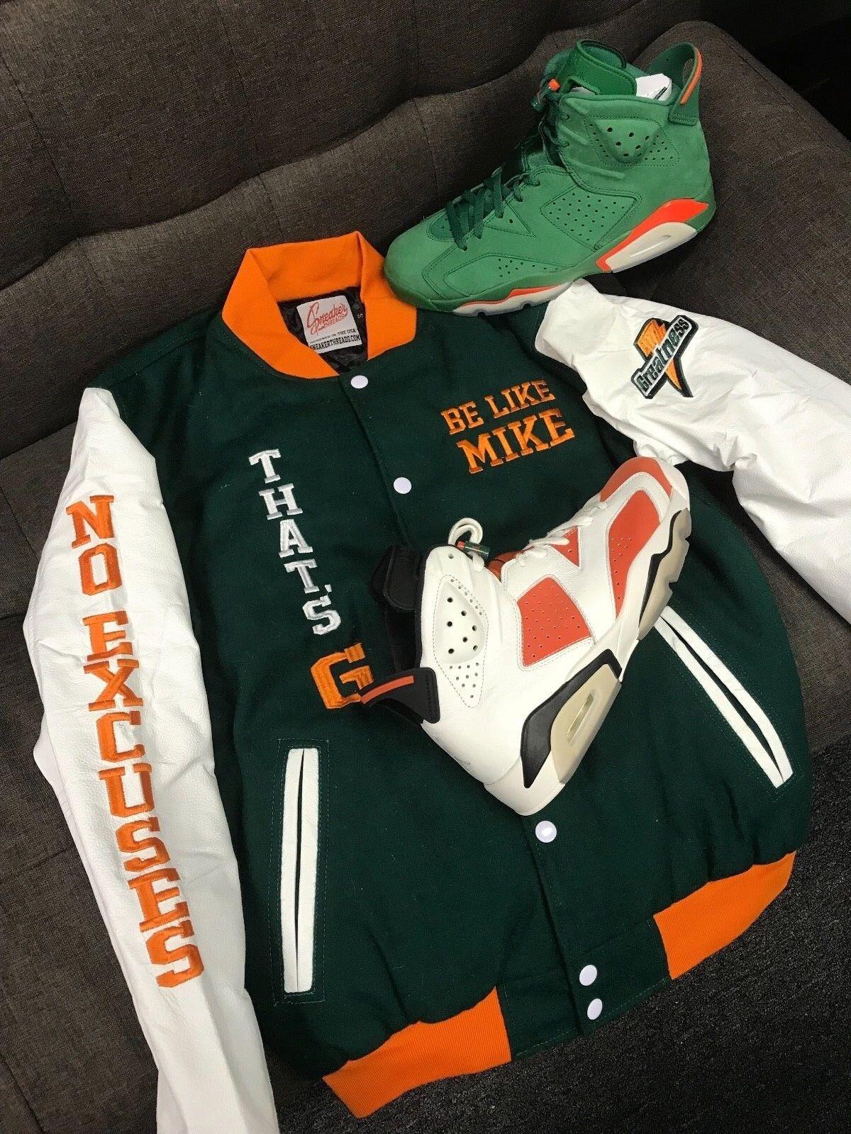 c071bf3d49a48 Мужская верхняя одежда из овчины Leather Varsity Jacket Match Jordan 6  Gatorade Win Like Mike - Greatness Jacket