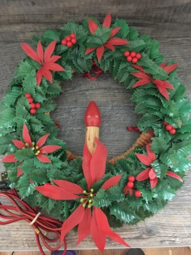 """Vintage Chenille and Plastic Double Sided Lighted Christmas Wreath 14"""""""