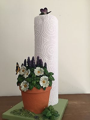Spring Daisies Herbs Garden Butterfly Paper Towel Holder Flowers Kitchen Decor Butterfly Paper Towel Holder