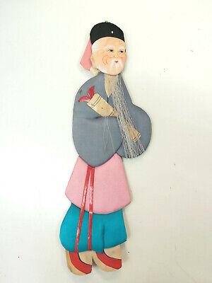 chinesische Papier Seiden Figur Pappfigur handgefertigt 1960 er alter Mann