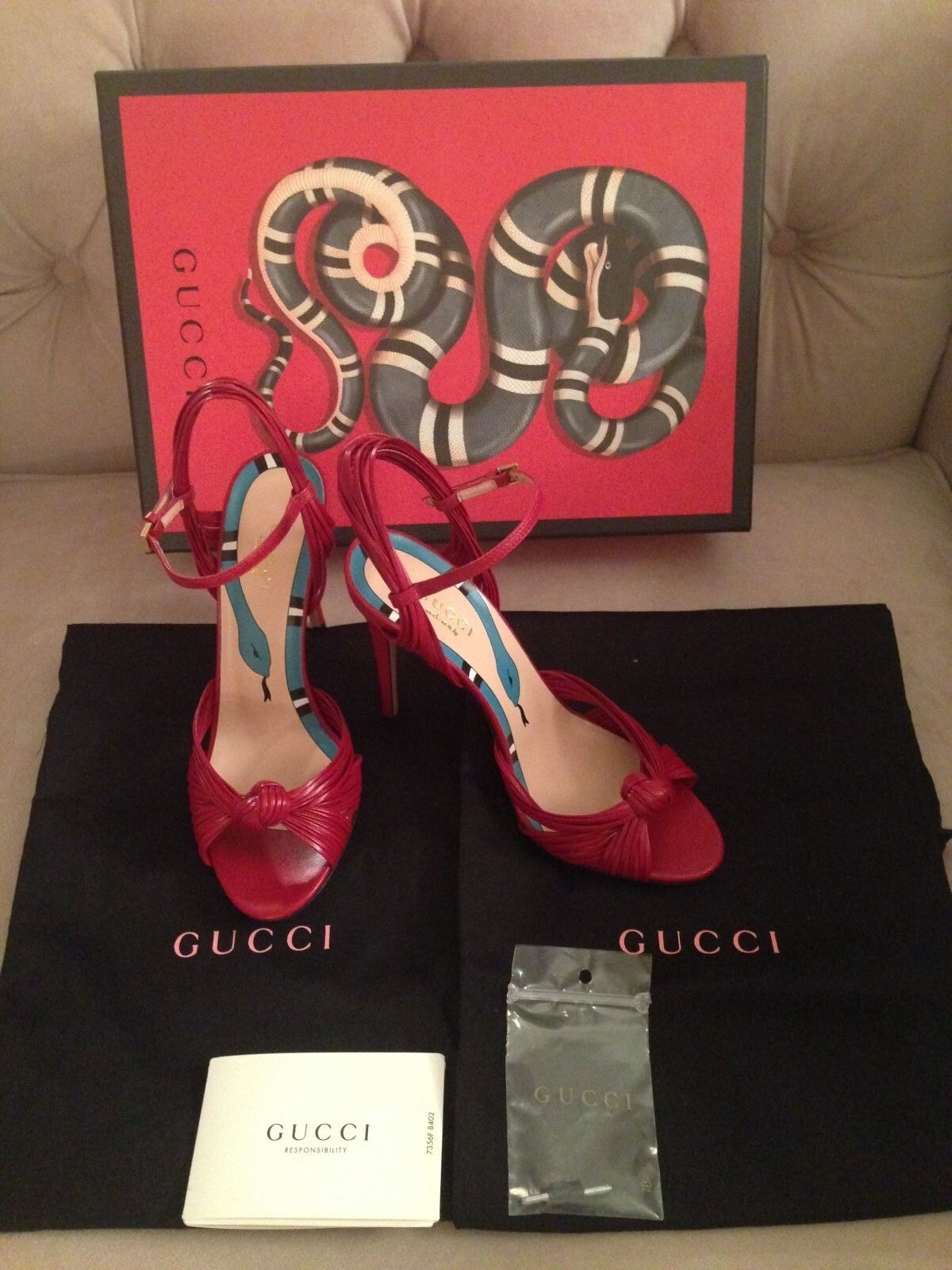 "GUCCI WOMEN ALLIE 4.5"" KNOT HIGH HEEL SANDALS - HIBISCUS DARK RED, SZ 36.5 - NIB"