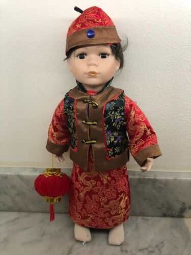 """HAUNTED Chinese Doll in Chinese New Year Clothing with Porcelain 18"""""""