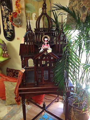 Beautiful Vintage Victorian Style Mahogany Bird Cage Excellent Condition FLORIDA