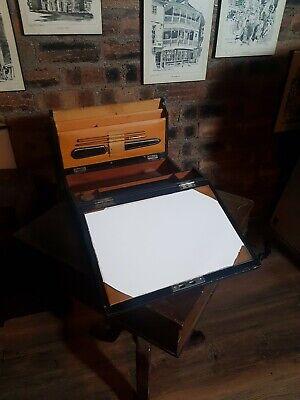 Antique Victorian Leather Writing Slope Edinburgh Maker's W J Milne & Key, Inkwe