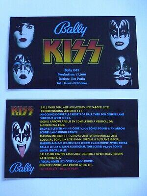 * * 'KISS' Bally 1979 Custom Instruction/Apron Cards * * (New)