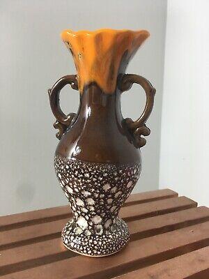 Pottery Antique Vase Brown Orange Vintage Itslian
