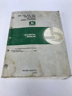 John Deere Tm1360 Technical Manual For 655 755 855 955 756 856 Compact Tractors