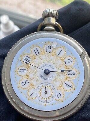 SERVICED ANTIQUE WALTHAM POCKET Watch 18s7J Grade 1 Model 1883 FANCY DIAL 1894!!