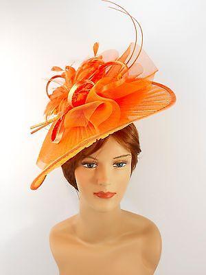 New Church Derby Wedding Pleated Fascinator Hat Headband 2450 Orange