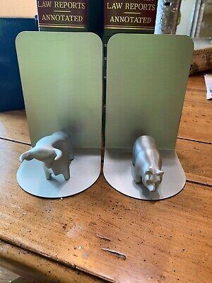 Fantastic Looking Bear & Bull Metal Bookends NIB Free Shipping Bull Bear Bookends