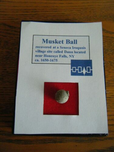Iroquois Musket Ball w/ Provenance in display case