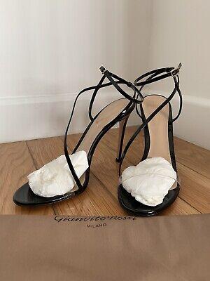 Gianvito Rossi Black Patent Leather Clear Plexi Strap Heels Size 41