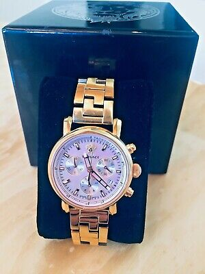 Versace Women's VLB100014  Glam Chronograph Gold IP Coated Steel Date Watch