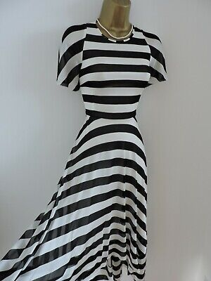 Karen Millen Size UK 12 STRIPED FLUID JERSEY SUMMER DRESS IN BLACK & WHITE