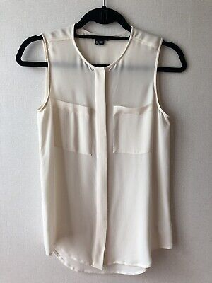 AUTH Theory sleeveless silk button down blouse off white beige top P XS