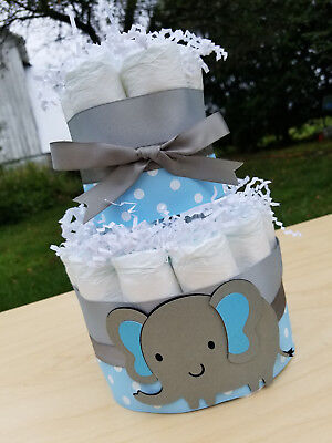 2 Tier Diaper Cake - Blue Elephant Theme Diaper Cake for Baby Boy Shower Cake - Elephant Baby Shower Theme Boy