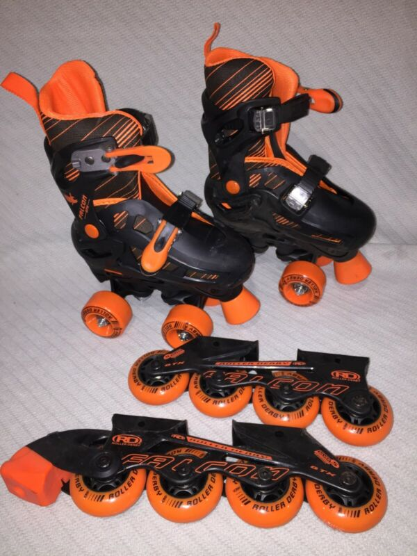 Roller Derby FALCON Roller Skates with Interchangeable Blades YOUTH Size 12-2 US
